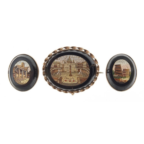 Italian micro mosaic brooch and pair of buttons
