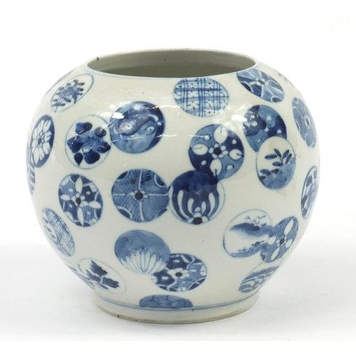 Chinese blue and white porcelain globular vase