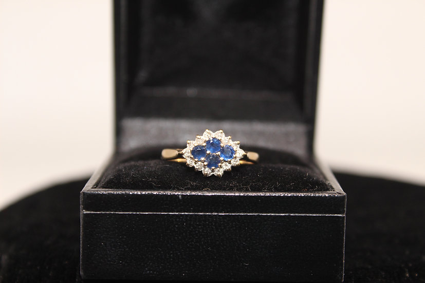 A 9ct gold, topaz & diamond ring, size M, weighing 2.0g