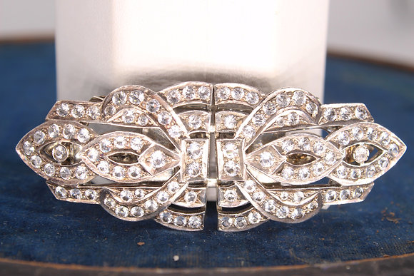 Art Deco style unmarked white metal 2 piece clip brooch set with white sapphires
