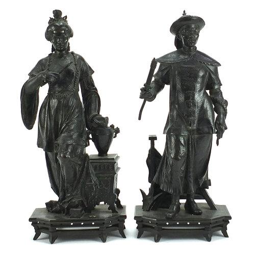Wilhelm, pair of 19th century patinated bronze figures