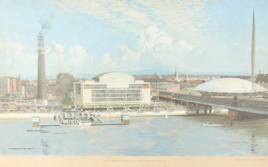 'Norman Wilkinson C.B.E P.R.I' 1950's colour print