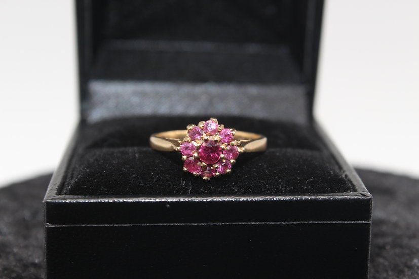 A 9ct gold & ruby ring, size J, weighing 2.4g