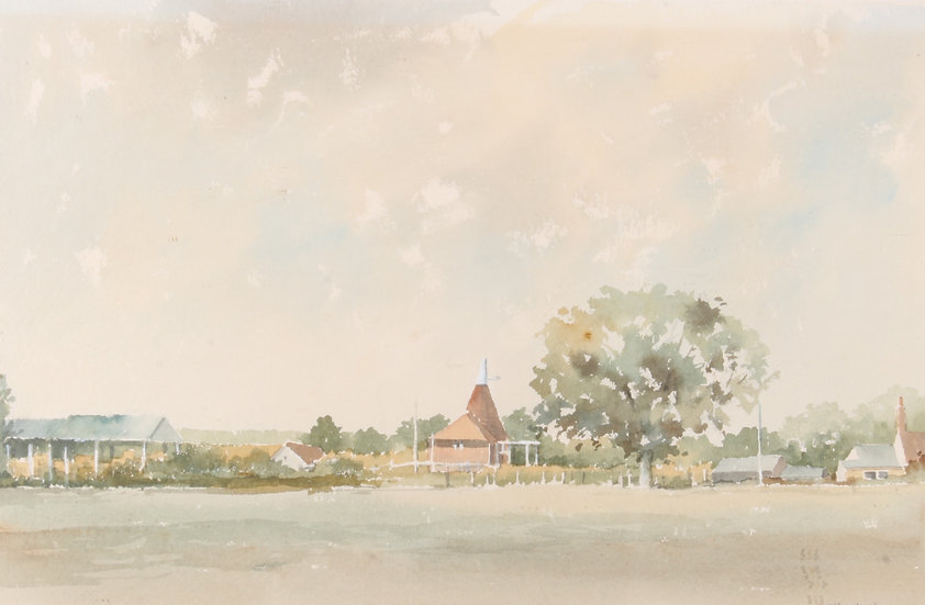 20th century watercolour titled 'Farm Buildings High Halden'