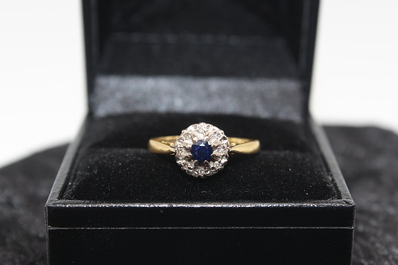 A 18ct gold, sapphire & diamond ring, size L, weighing 3.1g