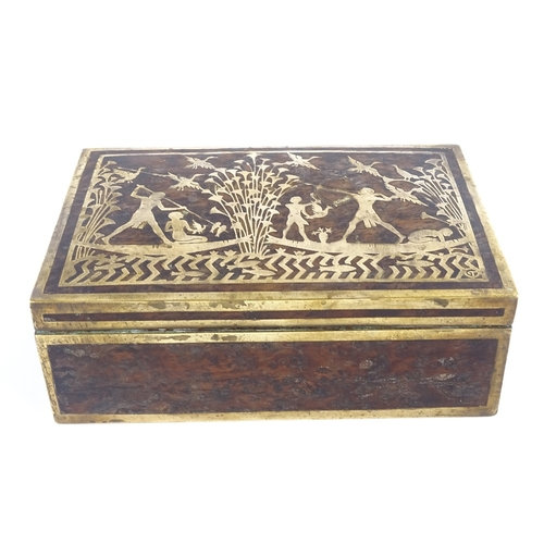 An Egyptian Revival brass inlay exotic wood box of rectangular form