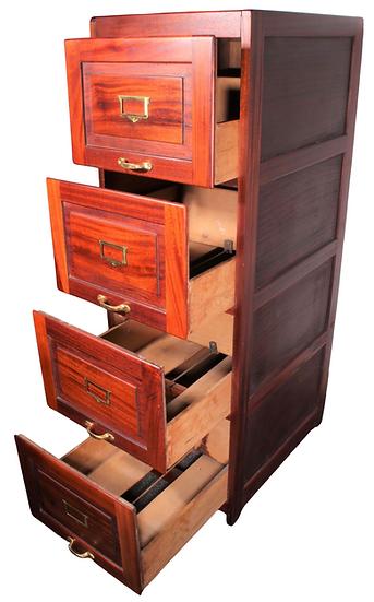 4 drawer mahogany 20thC filing cabinet
