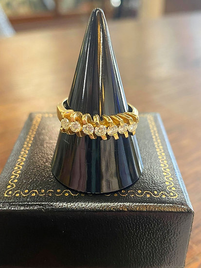 A 18ct gold & diamond ring, size O/P, weighing 5.8g