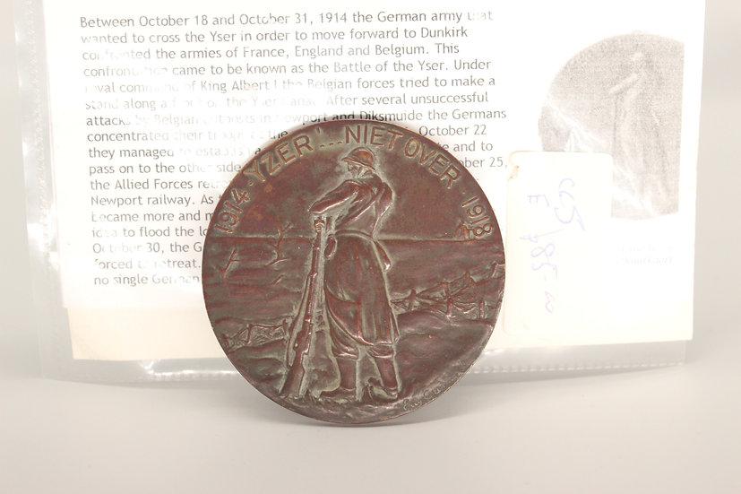 1914-1918 battle of the river yser bronzeplaque