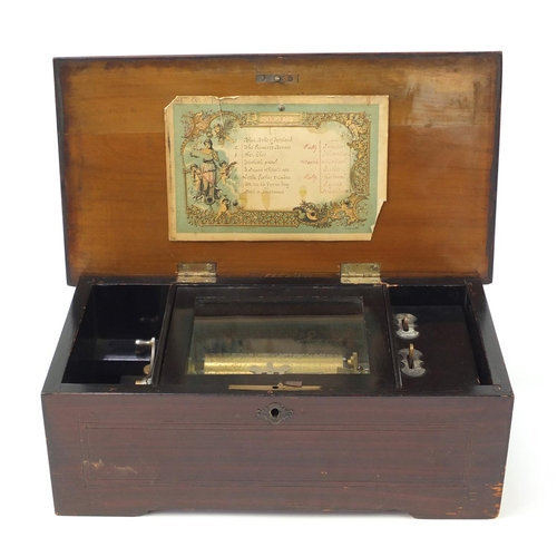Victorian wooden musical box with rosewood floral inlaid top