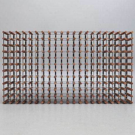 A Bordeaux mahogany & black enamelled steel wine rack