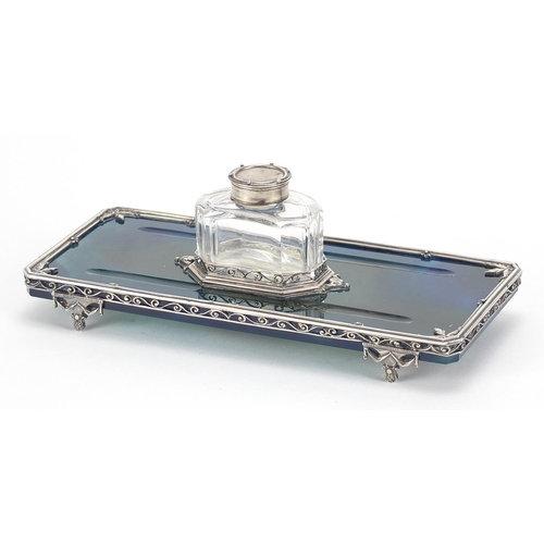 George Fox, Edward VII silver mounted blue agate desk stand