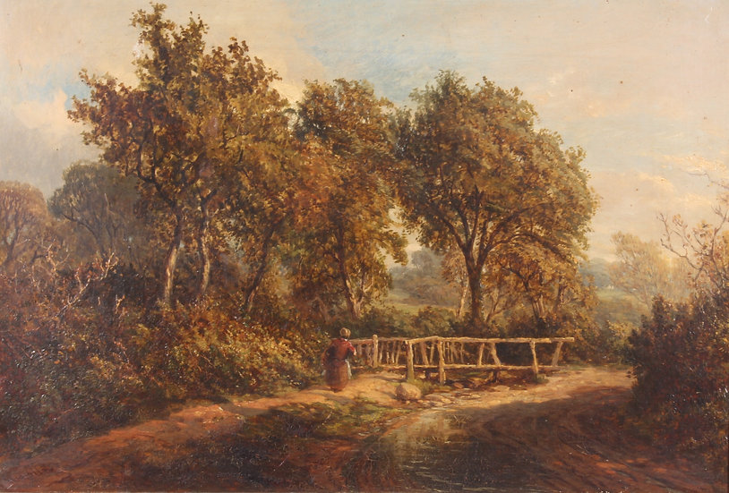19th century oil on canvas depicting a rural scene