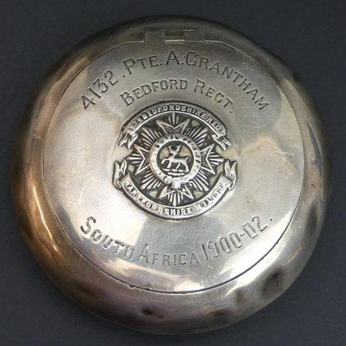 A silver tobacco box, PTE. A Grantham, Bedford Regiment.