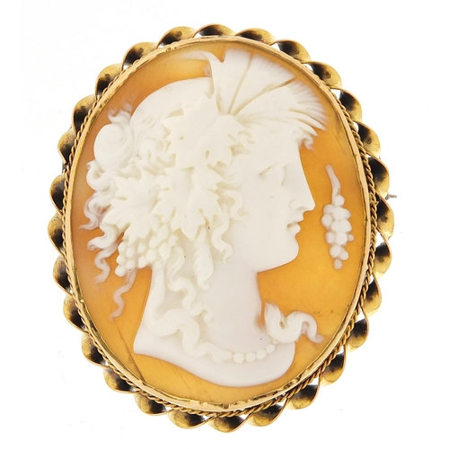 Cameo maidenhead brooch with gold coloured metal mount