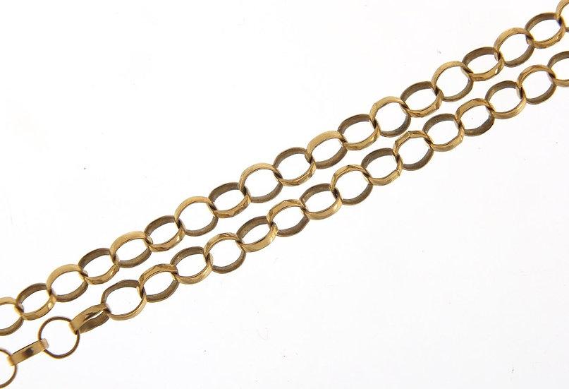 9ct gold Belcher link necklace, 56cm in length