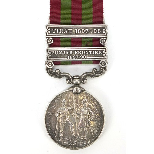 Victorian British military India medal with Punjab Frontier 1897-98