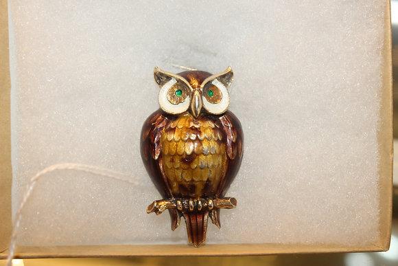 Finn Jenson, Norway sterling silver & enamel owl