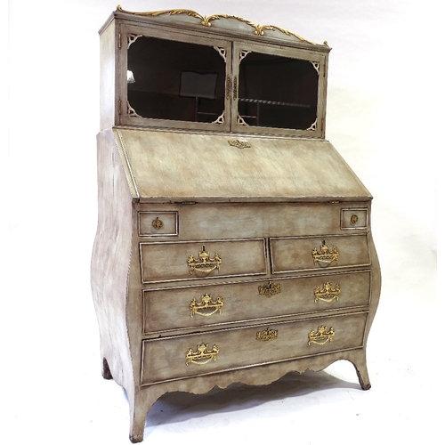 A Continental painted bureau cabinet