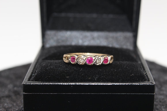 A 9ct gold and diamond ring, size M, weighing 1.8g