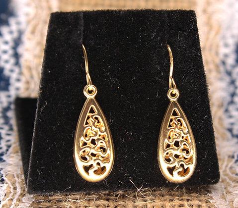 A 9ct pair of drop earrings, weighing 0.6g
