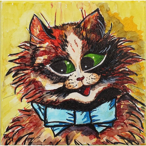 Manner of Louis Wain - Portrait of a cat, oil on canvas