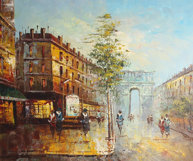 20th century oil on canvas depicting a Parisian street scene