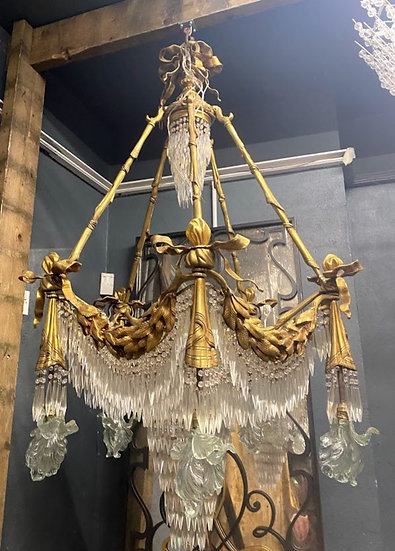 large 20th century bronze neoclassical hanging chandeliers