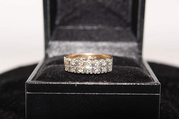 A 9ct gold and diamond ring, size M, weighing 2.9g