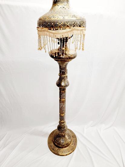 Persian silver & copper lamp
