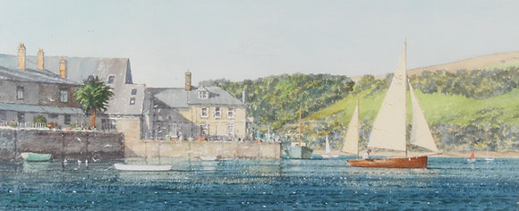 'Donald - Greig' signed 20th century watercolour 'White yacht, Salcombe'