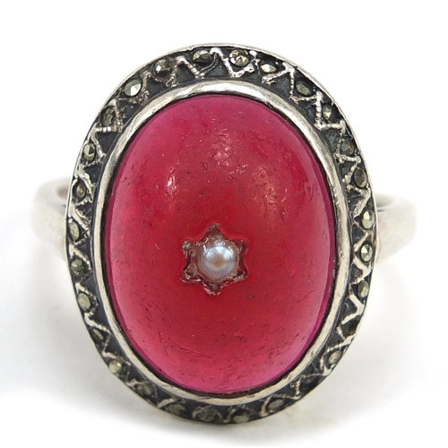 Antique unmarked white metal marcasite and cabochon red stone ring