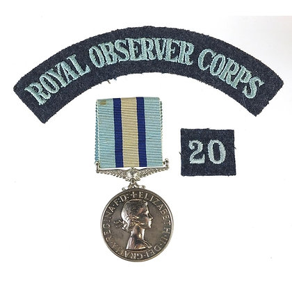 British military Elizabeth II Royal Observer Corps medal with cloth patches