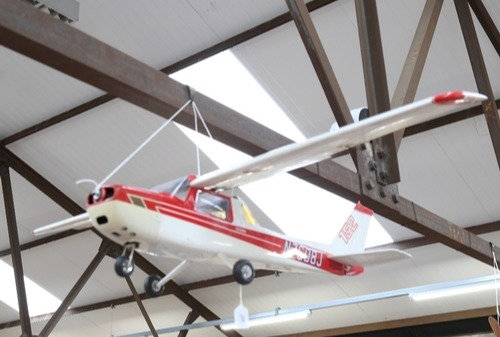 A model radio-controlled Cessna 152 plane