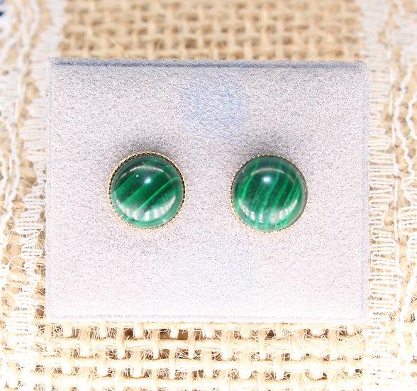 A pair of 9ct gold & Jade earrings weighing 1.8g.