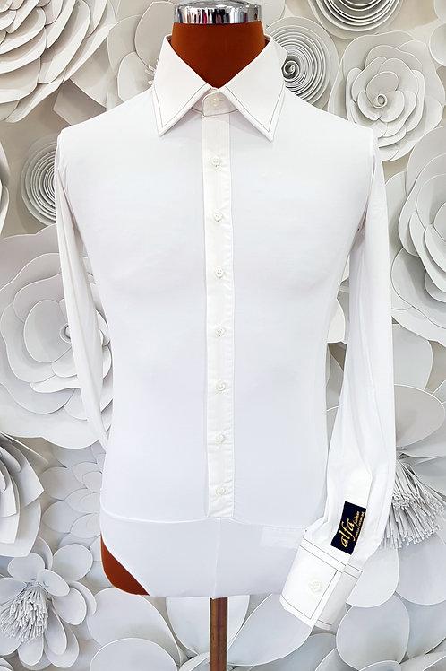 Camicia B-Stretch bianca cuciture nere
