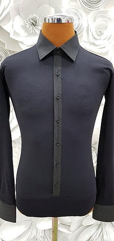 Camicia B-stretch nera gessata