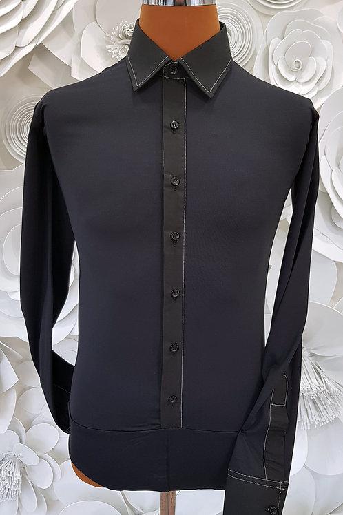 Camicia B-Stretch nera con cuciture bianche