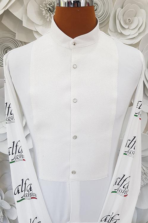 Camicia frack B-stretch bianca con logo