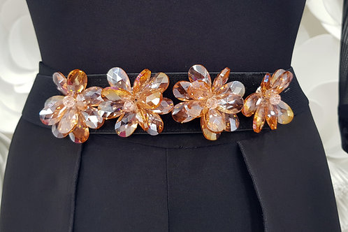 Cintura fiore pietre peach