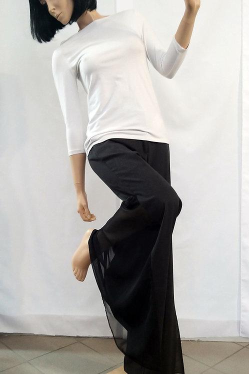 Pantalone tessuto mod. sigaretta, inserto voile