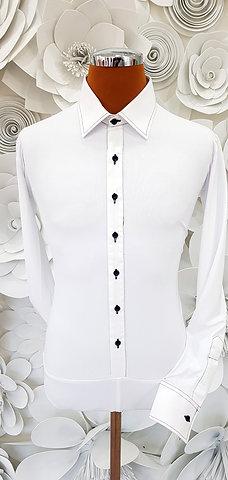 Camicia B-Stretch bianca bottoni e cuciture nere