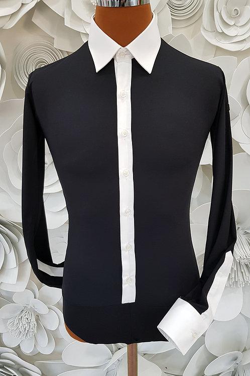 Camicia B-Stretch nera colletto bianco