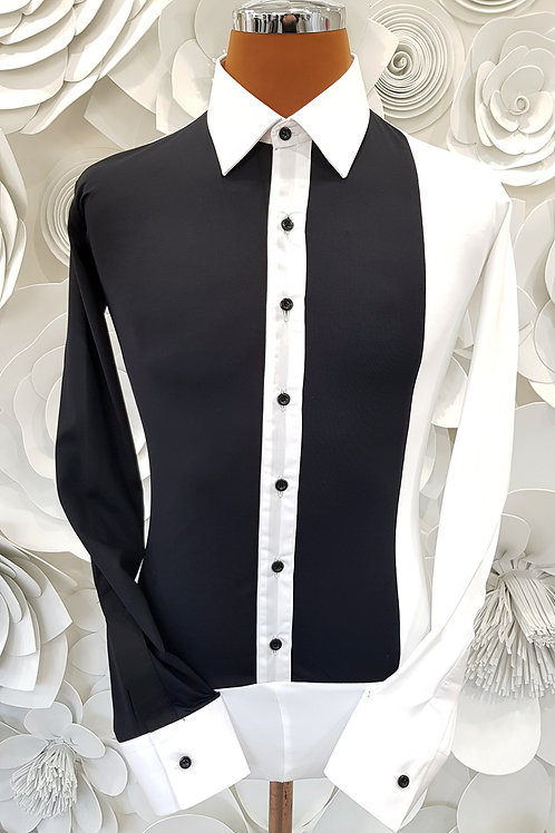 Camicia B-Stretch double black and white