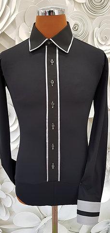 Camicia B-Stretch nera con profili in raso grigio