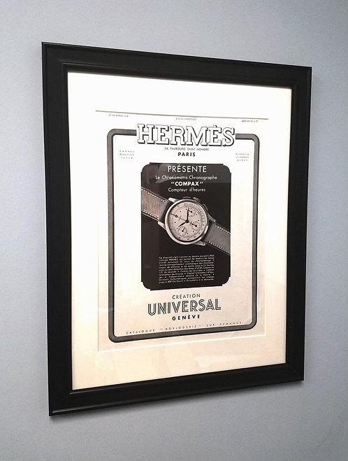 1938 Framed Hermes & Universal Geneve French Ad
