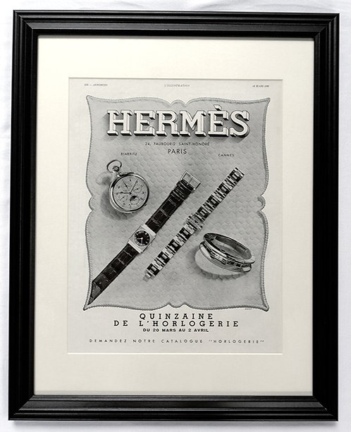 1939 Framed Hermès & Vacheron Constantin French Ad
