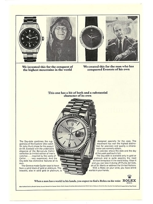 1967 Rolex Explorer Day-Date Cellini Ad