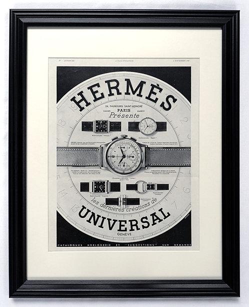 1937 Framed Hermès & Universal Geneve French Ad