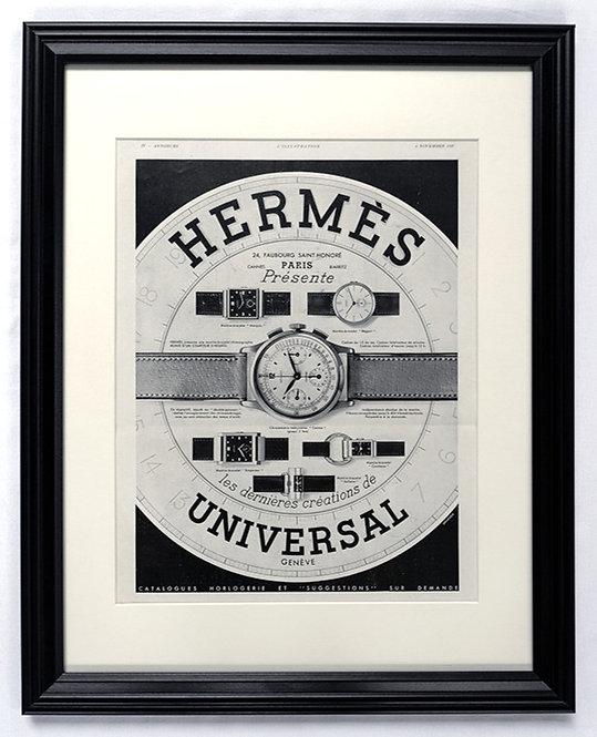 1937 Framed Hermes & Universal Geneve French Ad